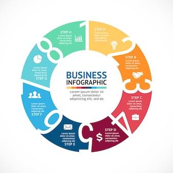 Numery wektor infografika szablon prezentacji koło diagram wykres 8 kroków części