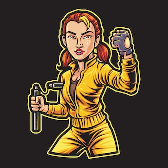 Nunchaku fighter girl esport logo ilustracja