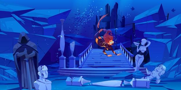 Nurek odkrywa zatopione miasto na dnie morskim. kobieta unosząca się nad wrakiem starożytnych kolumn architektury i połamanych posągów w podwodnym świecie. kreskówka.