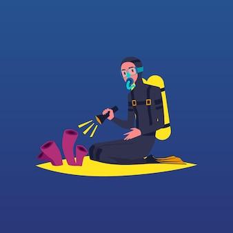 Nurkowanie postać nurka na ilustracji kreskówki płaskiej rafy koralowej dna morskiego