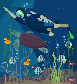 Nurkowanie z akwalungiem. życie morskie. ilustracja kreskówka płaska