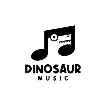 Nuta w kształcie nuty z głową dinozaura w środku, dobra dla każdego biznesu związanego z muzyką i dla dzieci.