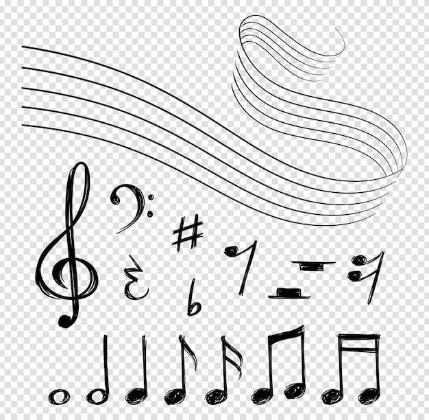 Nuty. czarne linie muzyczne, elementy melodyczne i pięciolinie. kształt artystyczny klucz wiolinowy i abstrakcyjne symbole wektorowe dźwięku na białym tle