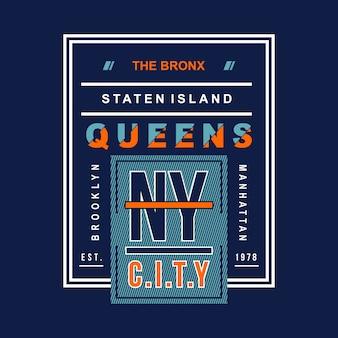 Ny miasto typograficzny t koszula projekt