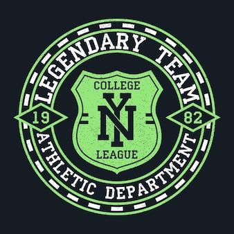 Ny new york vintage grafika na tshirt oryginalny projekt ubrania z grunge i tarczą