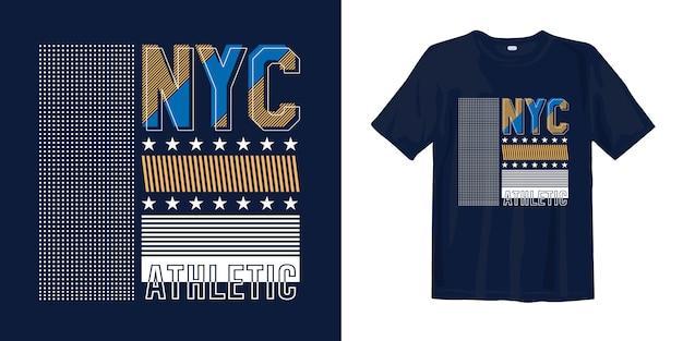 Nyc, abstrakcyjny geometryczny stylowy typograficzny nadruk na koszulce