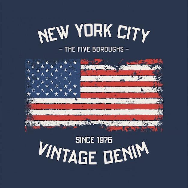 Nyc koszulka i odzież z pięciu dzielnic z efektem grunge