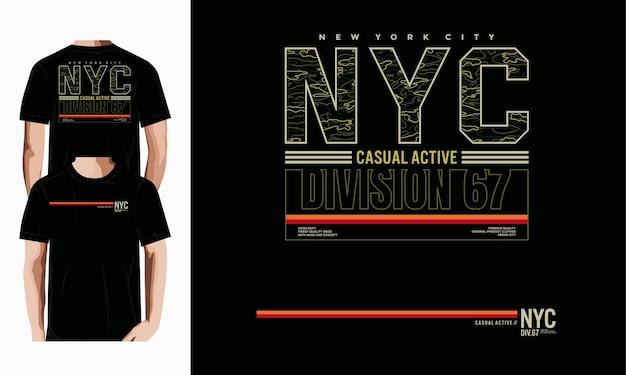Nyc typografia t shirt wektor projektu premium wektorów
