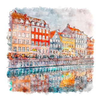Nyhavn kobenhavn dania szkic akwarela ręcznie rysowane ilustracji