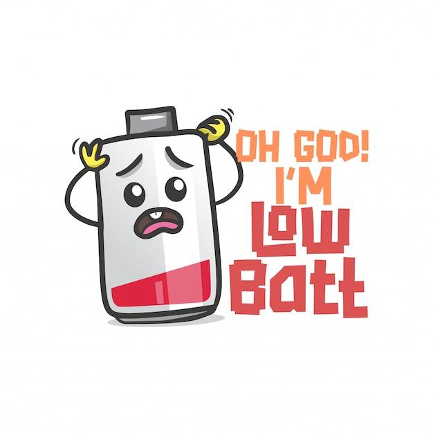 O boże! jestem low batt z ilustracją baterii