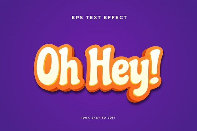 O, hej, pomarańczowy, biały efekt tekstowy