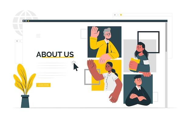 O nas ilustracja koncepcja strony