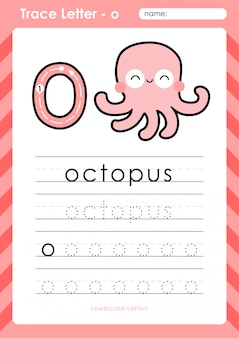 O ośmiornica: arkusz śledzenia alfabetu az - ćwiczenia dla dzieci