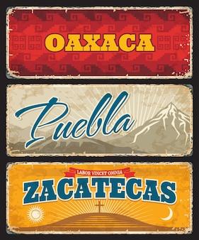 Oaxaca, puebla i zacatecas mexico określają blaszane talerze