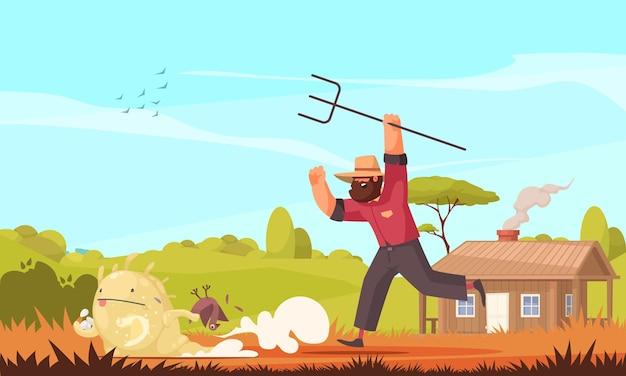 Obca kompozycja ufo z plenerową scenerią farmy i postaciami doodle biegnącego rolnika i obcego stworzenia