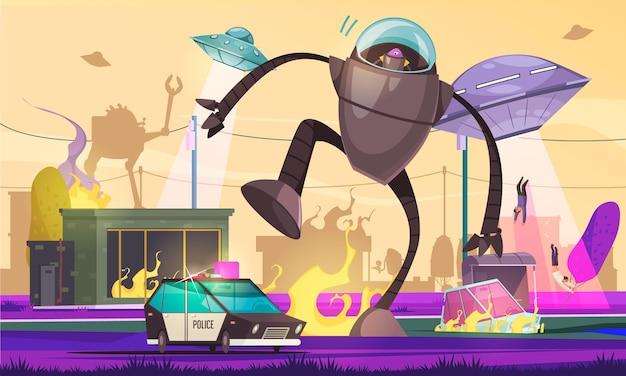 Obca kompozycja ufo z widokiem na miasto pod inwazją pozaziemską z płonącymi samochodami chodzącymi cyborgiem
