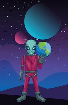 Obca udźwig planety ziemi w przestrzeni ilustracji