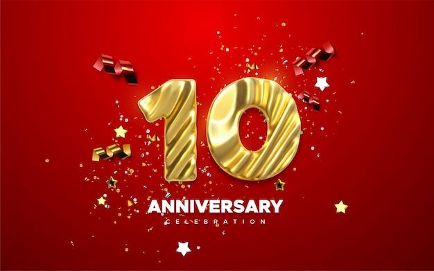 Obchody 10-lecia. złota cyfra 10 z mieniącymi się konfetti, gwiazdami, błyskotkami i wstążkami ze wstążkami.