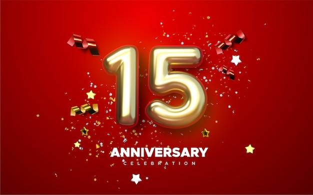 Obchody 15. rocznicy. złota liczba 15 z błyszczącymi konfetti, gwiazdkami, brokatami i wstążkami. ilustracja