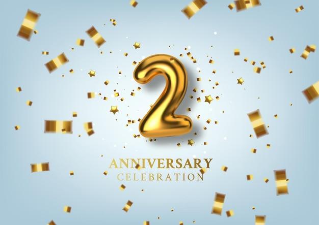 Obchody 2 rocznicy numer w postaci złotych balonów.