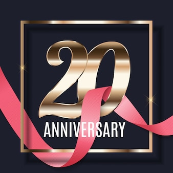Obchody 20 rocznicy godło szablon projektu z tłem plakat złote numery. ilustracja