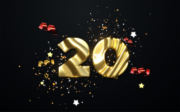 Obchody 20. rocznicy. złota liczba 20 z błyszczącymi konfetti, gwiazdkami, brokatami i wstążkami. świąteczna ilustracja.