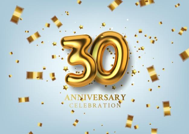Obchody 30-lecia numer w postaci złotych balonów.