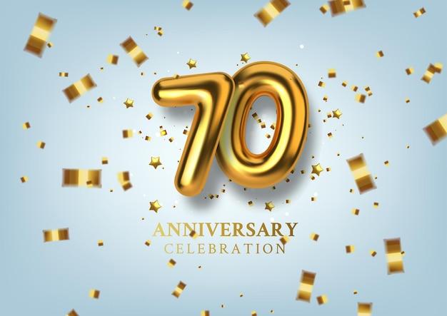 Obchody 70-lecia numer w postaci złotych balonów.