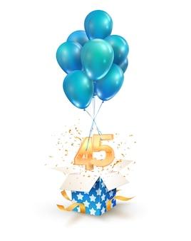 Obchody czterdziestu pięciu lat pozdrowienia z czterdziestej piątej rocznicy na białym tle elementów projektu. otwórz teksturowane pudełko z numerami i latającymi balonami