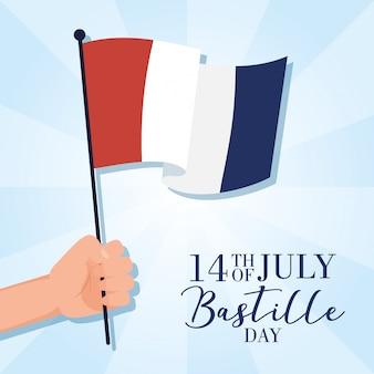 Obchody dnia bastylii z flagą francji