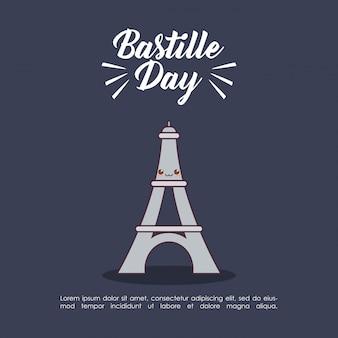 Obchody dnia bastylii z wieżą eiffla