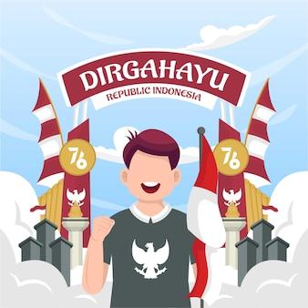 Obchody dnia niepodległości indonezji 17 sierpnia (dirgahayu republik indonesia). indonezyjskie flagi narodowe. ilustracja wektorowa