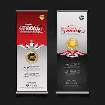 Obchody dnia niepodległości indonezji, baner zestaw ilustracji szablonu projektu