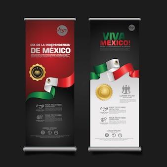 Obchody dnia niepodległości meksyku, roll up zestaw bannerów szablon.