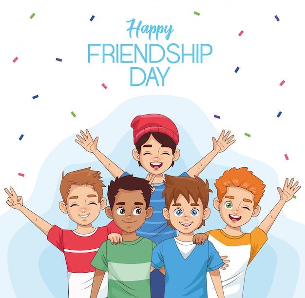 Obchody dnia szczęśliwej przyjaźni z grupą dzieci i konfetti
