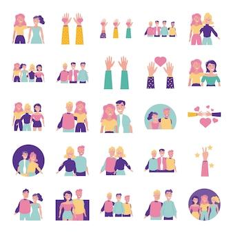 Obchody dnia szczęśliwej przyjaźni z ludźmi i zestaw ikon