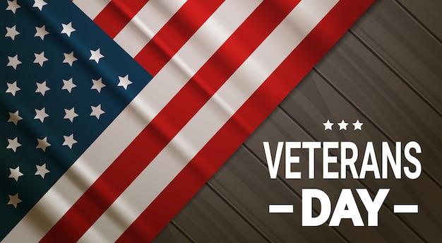 Obchody dnia weteranów national american holiday banner nad tłem flaga usa