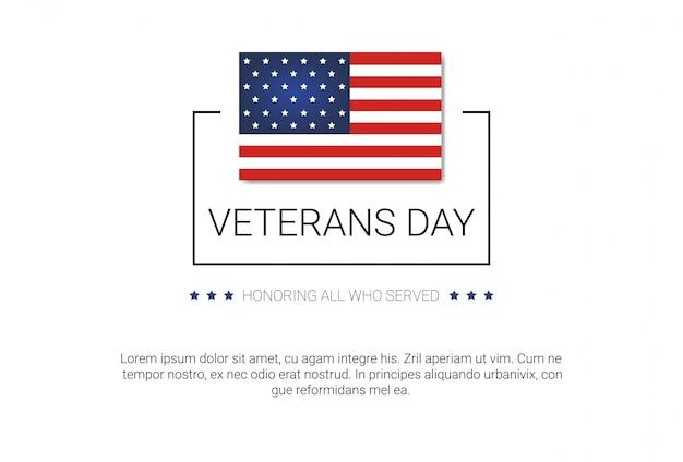 Obchody dnia weteranów national american holiday banner z flagą usa
