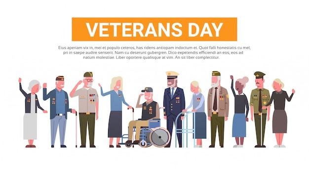 Obchody dnia weteranów national american holiday banner z grupą emerytów wojskowych