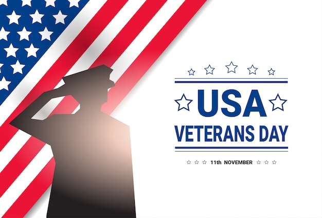 Obchody dnia weteranów national american holiday banner z sylwetka żołnierza nad flagą usa