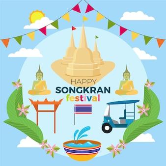 Obchody festiwalu songkran płaska konstrukcja