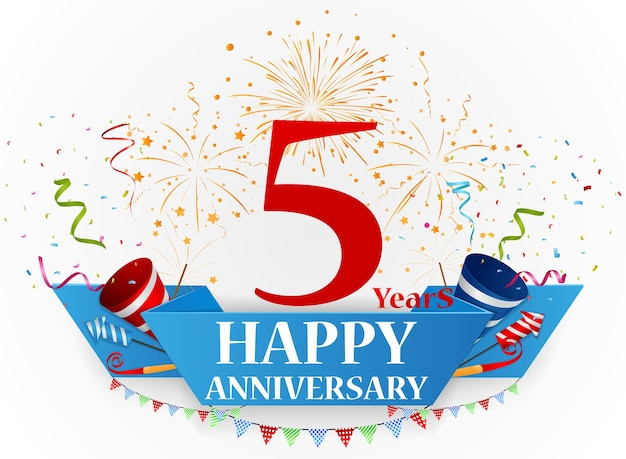 Obchody happy anniversary z fajerwerkami i konfetti