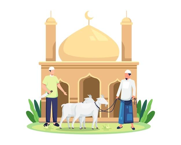 Obchody id al-adha qurban. świętowano wszystkich muzułmanów, zabijając zwierzęta gospodarskie. ludzie trzymający kozę na qurban. szczęśliwy eid al adha ofiara z żywego inwentarza. ilustracja wektorowa w stylu płaski