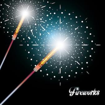 Obchody ikony sceny nocy fajerwerków