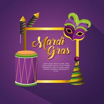 Obchody mardi gras z dekoracji ramy i szablonu karty
