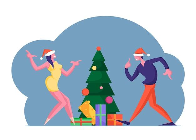 Obchody nowego roku lub bożego narodzenia w pracy lub w domu