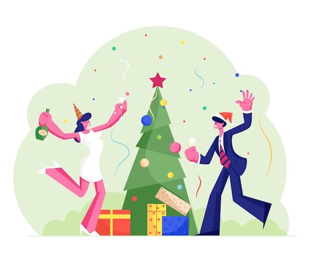 Obchody nowego roku lub bożego narodzenia w pracy z szampanem, płaskie ilustracja kreskówka