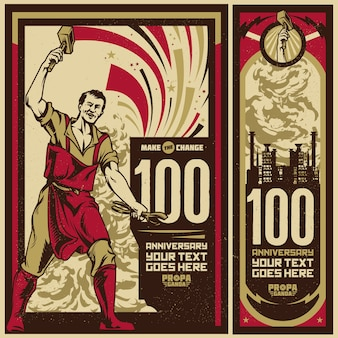 Obchody rocznicy rocznika propagandowego plakat i elementy