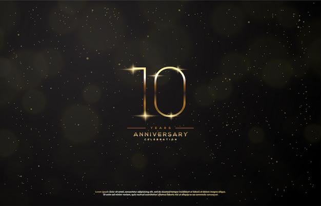 Obchody rocznicy z cienką złotą liczbą.