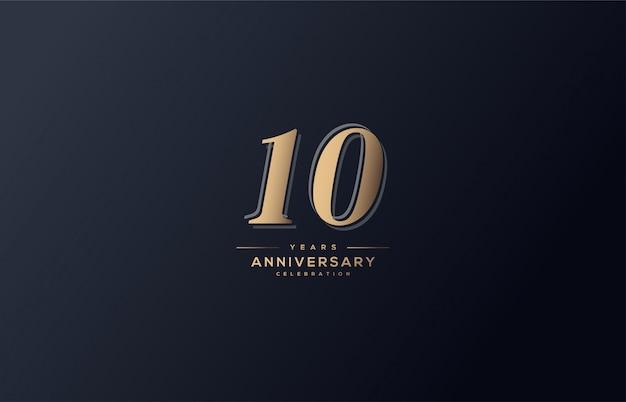 Obchody rocznicy z miękkimi złotymi cyframi.